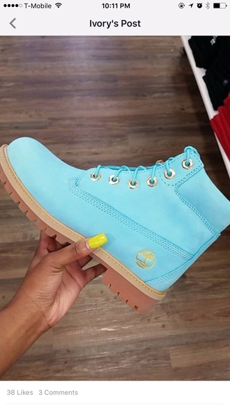 shoes baby blue sky blue timberlands boots cute