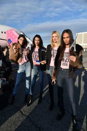 jacket top t-shirt jeans bella hadid model kendall jenner joan smalls lily donaldson victoria's secret model victoria's secret