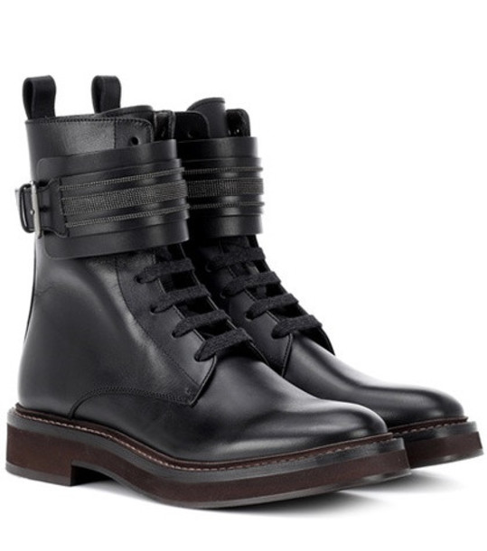 Brunello Cucinelli Lace-up leather boots in black