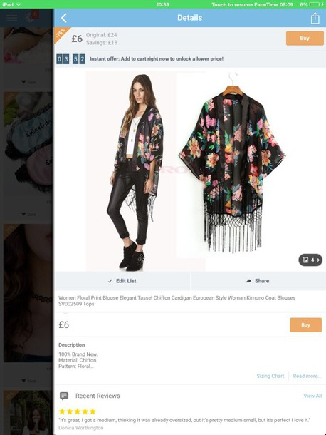 cardigan floral kimono