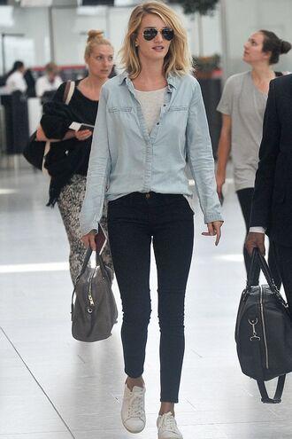 jeans rosie huntington-whiteley denim sneakers top bag denim shirt