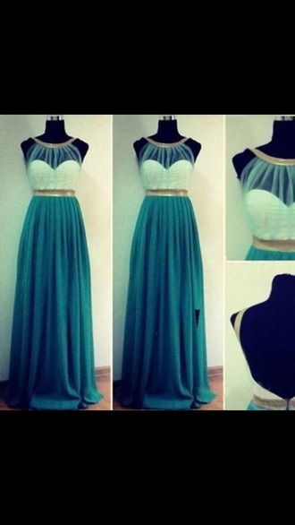 dress prom teal green white long prom dress gown sexy goddess cute prom dress prom gown