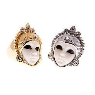 Retro personality Egyptian female mask ring Gold/ Silver adjustable rings Free shipping Min.order $15 mix order-in Rings from Jewelry on Aliexpress.com