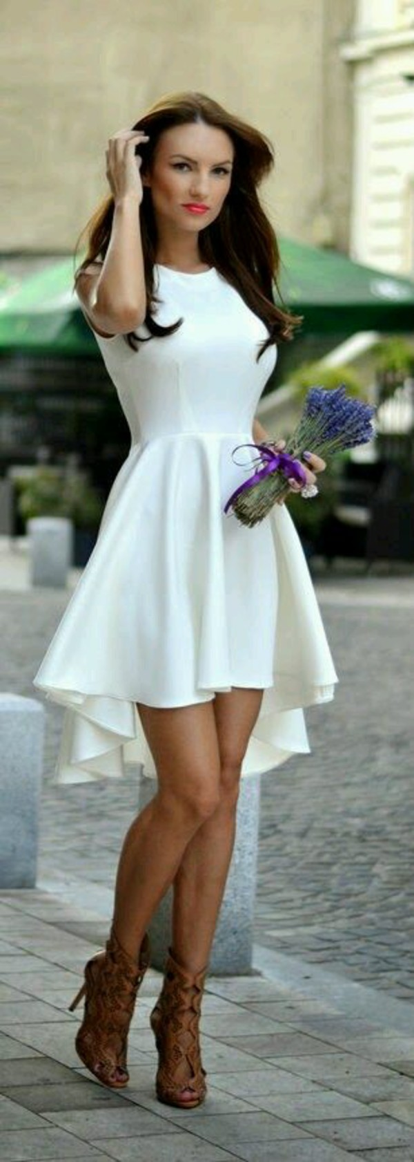 white dress high-low dresses cocktail dress dress shoes tan colored heels summer dress dress white prom dress high low dress skater dress cute brown shoes