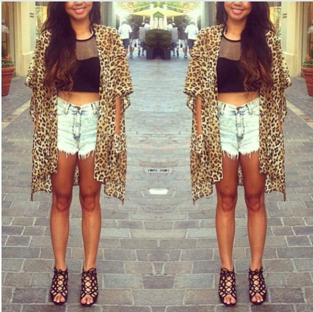 Jacket: kimono, leopard print, long, high waisted shorts - Wheretoget