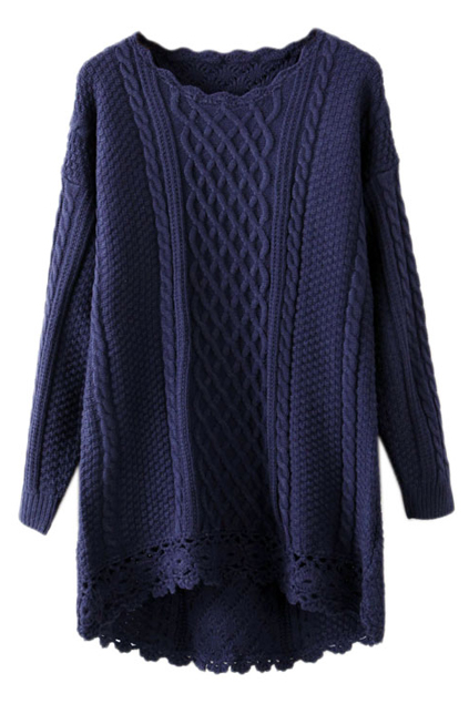 ROMWE | ROMWE Cut-out Crochet Wave Trimmings Blue Jumper, The Latest Street Fashion