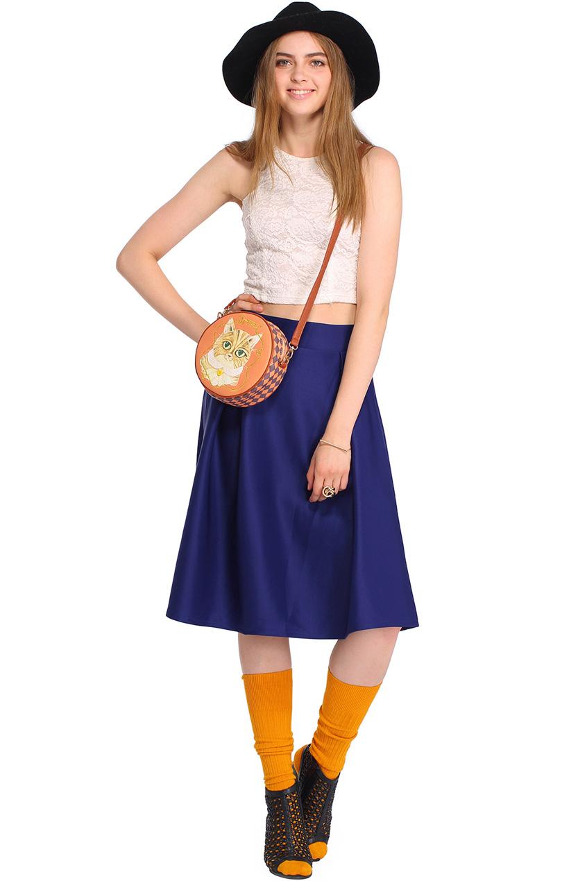 ROMWE   ROMWE Pleated Zippered Dark-blue Midi Umbrella Skirt, The Latest Street Fashion
