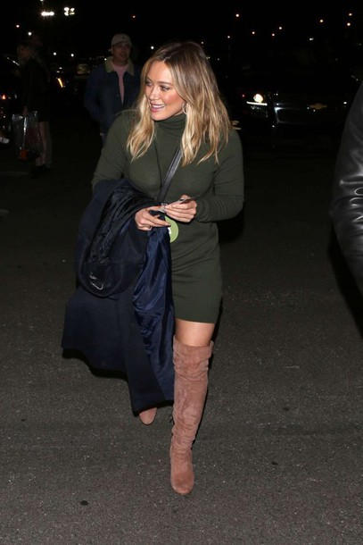 1f8a717ad03 dress olive green sweater dress hilary duff fall outfits boots over the  knee boots suede boots