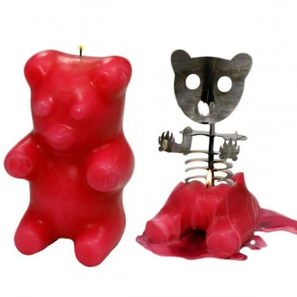 home accessory candle bear skeleton halloween decor halloween