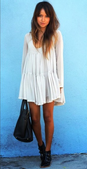 cute petite summer outfits white dress flowy short Tumblr long sleeve dress want this now helps asap Tan bright Need this dress help me pls me quick pleats hard-to-find i need this dress so bad oneteaspoon mini dress