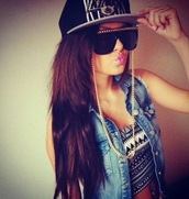 tank top,top,black,sunglasses,sun,summer,style,crop tops,aztec,white,black and white,demin,cap,glasses,outfit,clothes,gold,chain,brunette,jacket,cool,swag,hipster,hat,jean vest,shirt,gloves