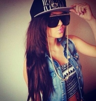 tank top top black sunglasses sun summer style crop tops aztec white black and white demin cap glasses outfit clothes gold chain brunette jacket cool swag hipster hat jean vest shirt gloves