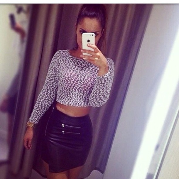 tight cropped sweater leather skirt