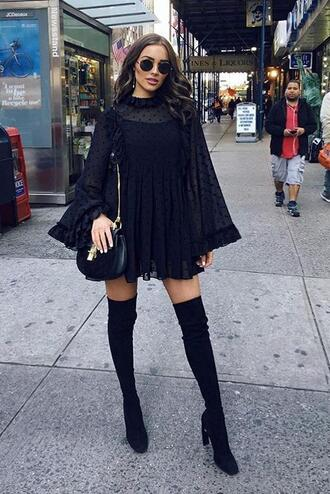 dress black dress fall outfits over the knee boots olivia culpo streetstyle