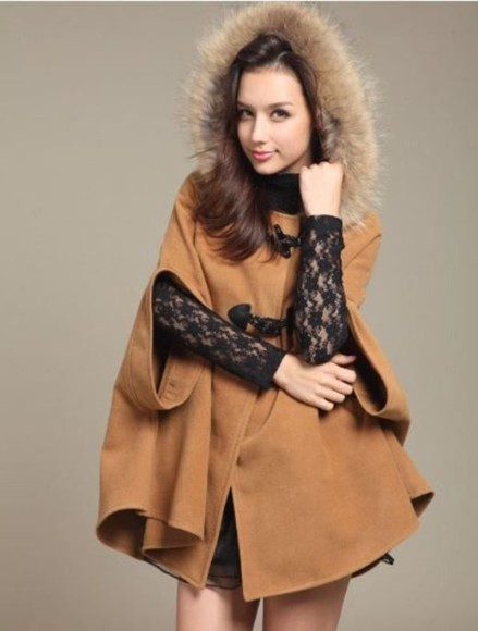 wool blend poncho bow back www.ustrendy.com cape camel faux fur