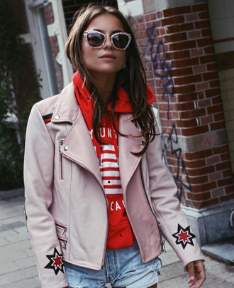 jacket perfecto leather jacket nude jacket embellished jacket red hoodie hoodie distressed denim shorts college retro sunglasses