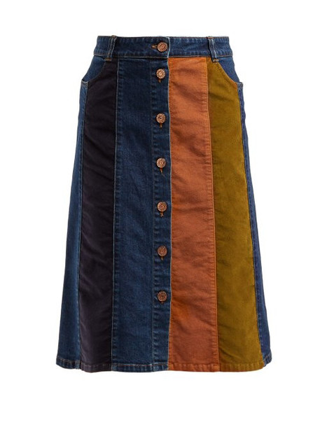 See By Chloé See By Chloé - Contrast Panel Denim Skirt - Womens - Blue Multi