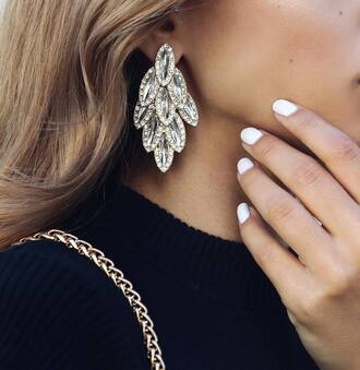 jewels earrings white nails nail polish statement earrings wedding accessories diamonds