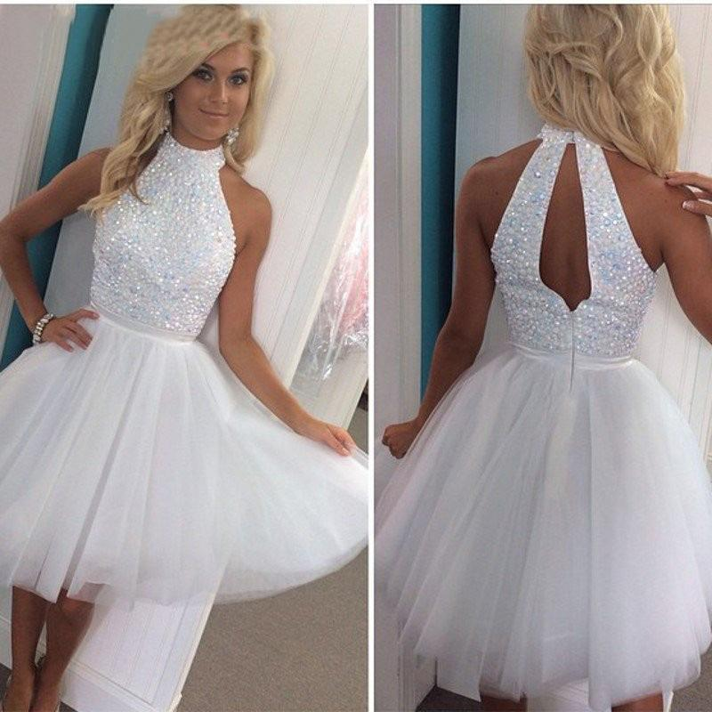 White Beaded Short Keyhole Back Prom Dresses 2015 A Line High Neck