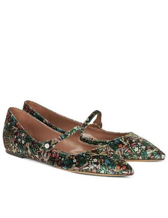 flats floral velvet green shoes