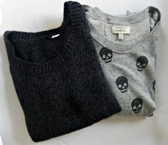 sweater skull pullover sweatshirt black grey jumper top tumblr right
