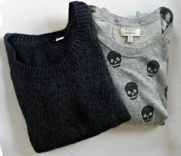 skull sweater pullover black grey