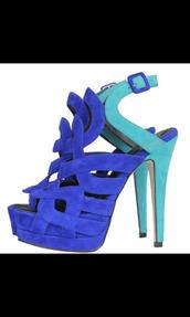 shoes,pumps,blue,turquoise,multicolor,suede,high heels,high heel sandals,royal blue,blue shoes,platform shoes,hollow out