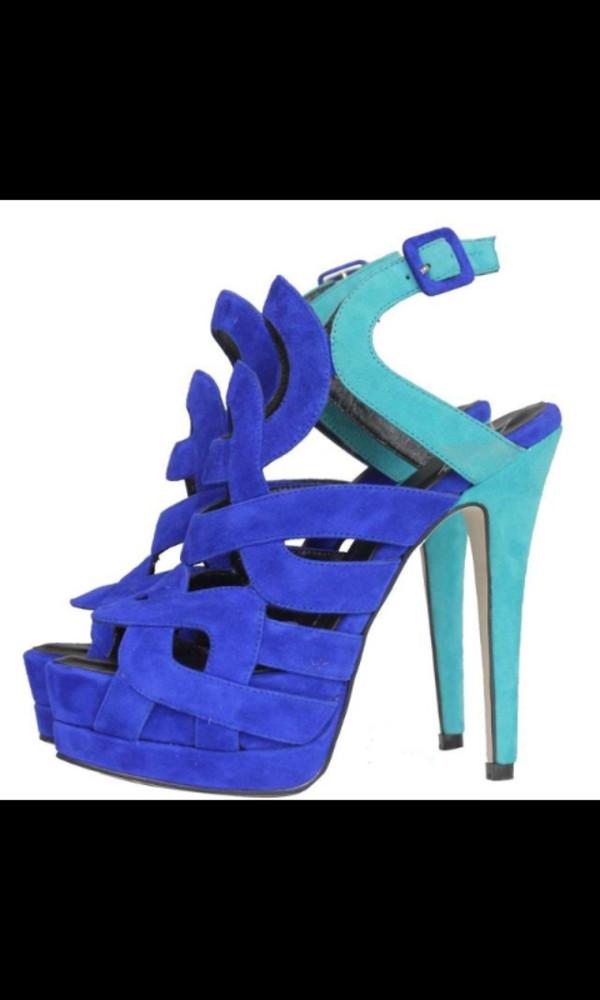 shoes pumps blue turquoise multicolor suede high heels high heel sandals royal blue blue shoes platform shoes hollow out