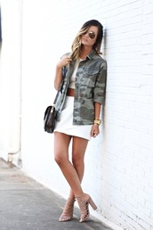 for all things lovely,blogger,jewels,sunglasses,military style,white crop tops,white skirt,mini skirt,black bag,shoulder bag,nude heels,crop tops,black shoulder bag