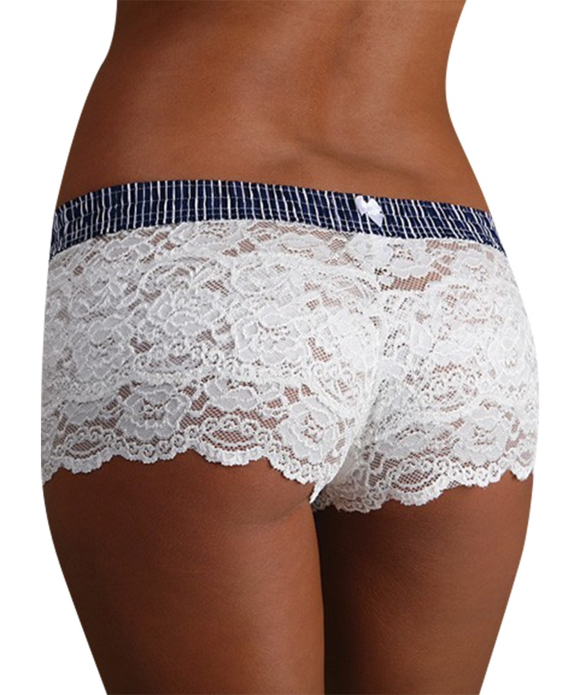 White lace boxer short