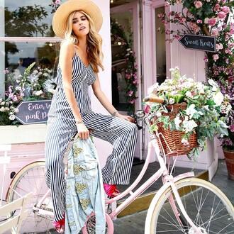 jumpsuit hat tumblr stripes striped jumpsuit shoes pink shoes sun hat straw hat bike