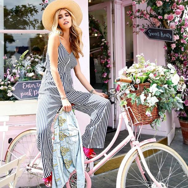 c6306ac5f3bd jumpsuit hat tumblr stripes striped jumpsuit shoes pink shoes sun hat straw  hat bike
