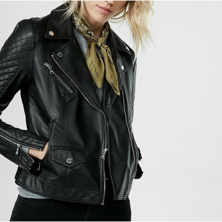 Womens Quilted Black Leather Biker Motorcycle Jacket