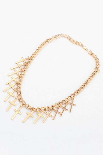 ROMWE | Crosses Shaped Golden Necklace, The Latest Street Fashion