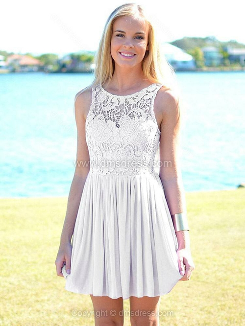 A-line Bateau Chiffon Short/Mini Sleeveless Lace Homecoming Dresses - Dmsdress.com