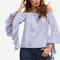Blue striped off the shoulder ruffle sleeve blouse -shein(sheinside)