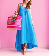 a lonestar state of southern,blogger,jewels,shoes,blue dress,maxi dress,beach bag,pink bag,beach,summer outfits,lace up heels,wedges,beige