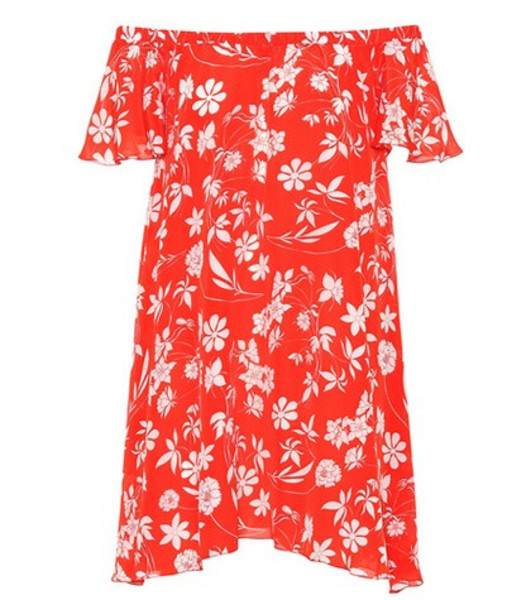 Athena Procopiou Floral-printed silk minidress in red