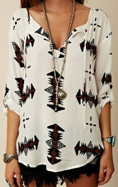 blouse,black,white,aztec,arrow,shirt,clothes,tribal pattern,tribal shirt,white tribal dress,black and white blouse,t-shirt,boho,tumblr,colorful,jewels,style,top,black? jewelry,loose,dress,print,spring,fall outfits,cut,sweater like,white black aztec blouse,indie,aztec top,white shirt,tribal blouse,fashion,black and white,skirt,pretty,shorts,white chiffon base printed tunic