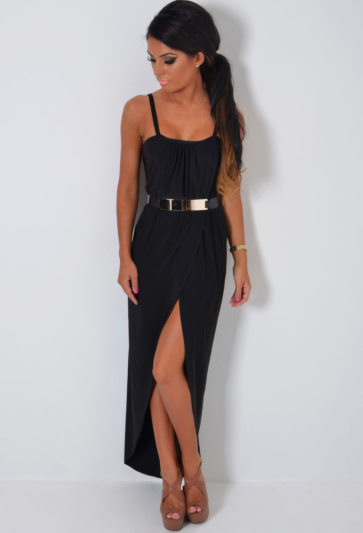 Flamenco black draped wrap maxi dress