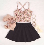 blouse,skirt,tank top,floral,belt,shoes,jewels,wedges,studded shoes,shirt,cute flower top,skater skirt,flowers,dress,high heels,black skirt,bracelets,bow,black,vintage,top,heels,spikes,heels color pumps wedges sexy,accessories,bowls,bows,summer shirt,hair accessory,crop tops,coat,style,pink