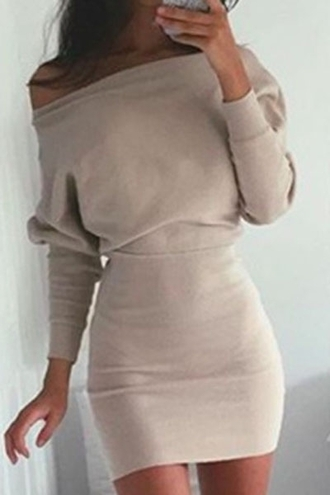 dress streetwear streetstyle off the shoulder bodycon dress zaful beige sexy long sleeves nude