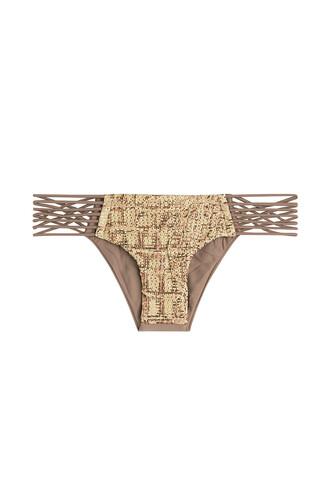 bikini bikini bottoms cut-out beige swimwear