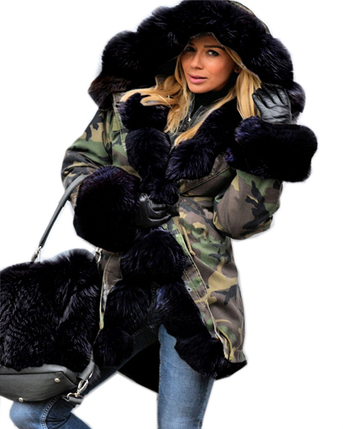 Women Thicken Faux Fur Jacket Hooded Parka Coat at Amazon Women's ...