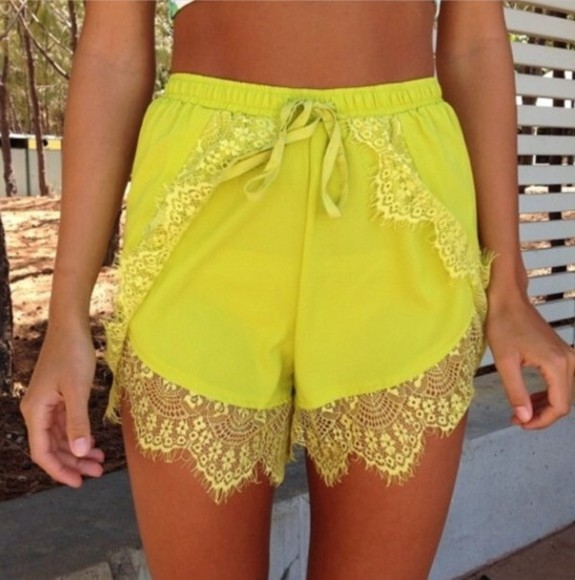 yellow shorts shorts yellow high waisted short lovelyteneille ebony lace ebonylace-streetfashion