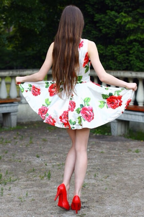dress cute floral red white