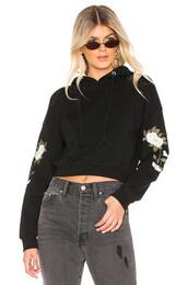 hoodie,floral,black,sweater