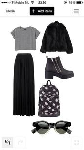shoes,long skirt,black,backpack,grey,fur,crop tops,coat,skirt,sunglasses,shirt,bag