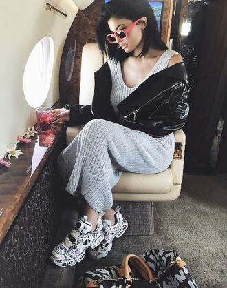 shoes sneakers jacket dress instagram coachella kylie jenner kardashians spring outfits sunglasses