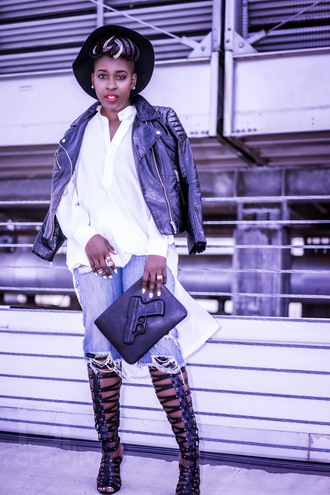 style is she blogger jeans dope gladiators biker jacket ripped white blouse